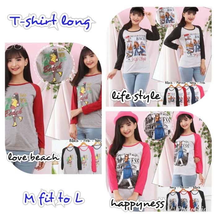 Jual Kaos Lengan Panjang Love Beach Life Style Happyness 5 R Kab Bekasi Rnr Hijab Fashion Tokopedia
