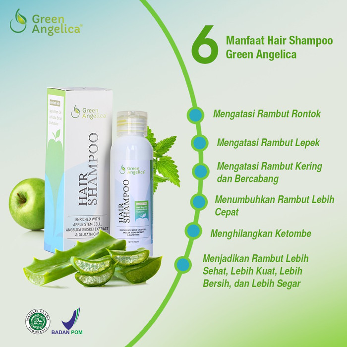 Shampo Penumbuh Rambut Rontok. Shampo Anti Ketombe - Green Angelica