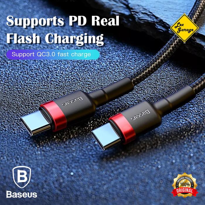 Foto Produk Kabel Fast Charging Type C to Type C Baseus Kevlar PD 2.0 60W QC 3.0 - 100 cm, Ring Abu dari Lex Garage