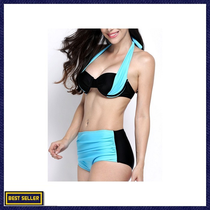 71f9ab9ad75 Jual Women Sexy Color Block Strappy Halter Bikini Push Up Folder ...