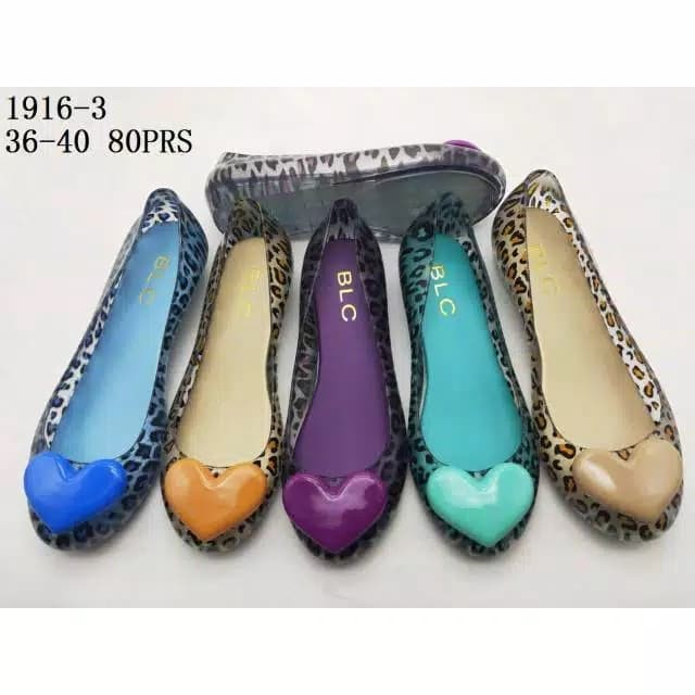 Foto Produk Jelly Shoes Love Leopard - Sepatu Wanita karet flatshoes slip on murah - Biru, 37 dari Gracia OS