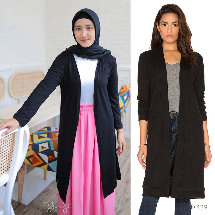 Foto Produk Plain Long Cardi Cardigan Kardigan Polos Jaket Wanita JK439 - Navy dari Yoora Fashion