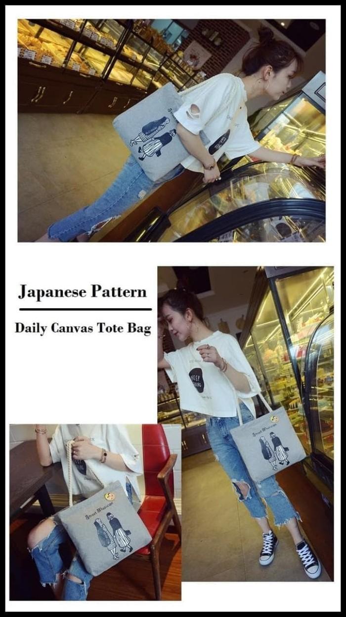 Jual Koleksi Terbaru Japanese Pattern Daily Canvas Tote Bag Tas Kanvas Jakarta Pusat Tonos Olshop