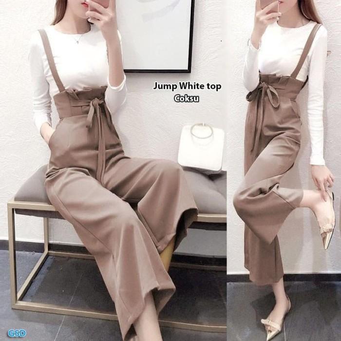 Double top Jump wanita casual / 1 set iner putih dan celana kulot /