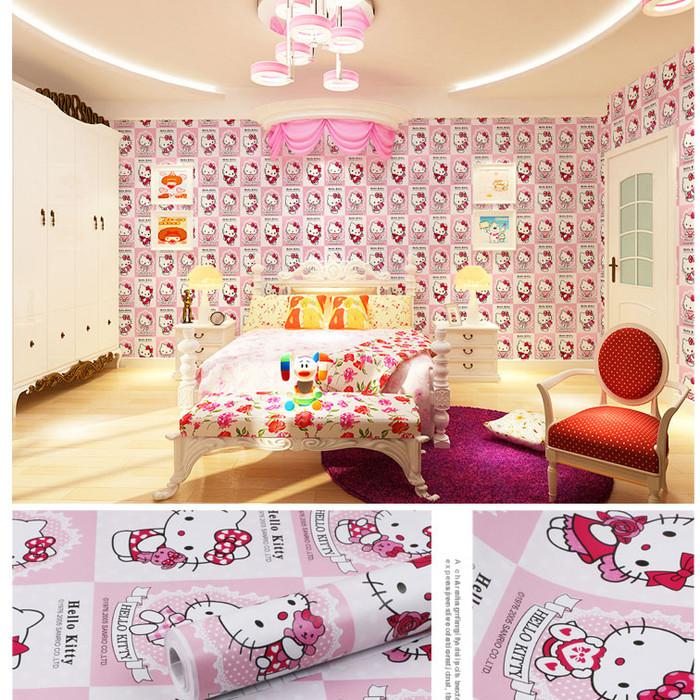 Gambar Sofa Ruang Tamu Hello Kitty  jual wallpaper dinding hello kitty kotak pink kota tangerang adam shop1 tokopedia