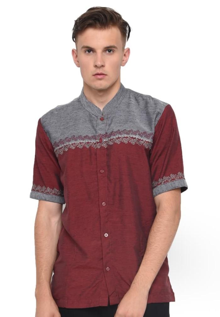Baju muslim pria baju koko kemeja atasan lengan pendek merah maroon
