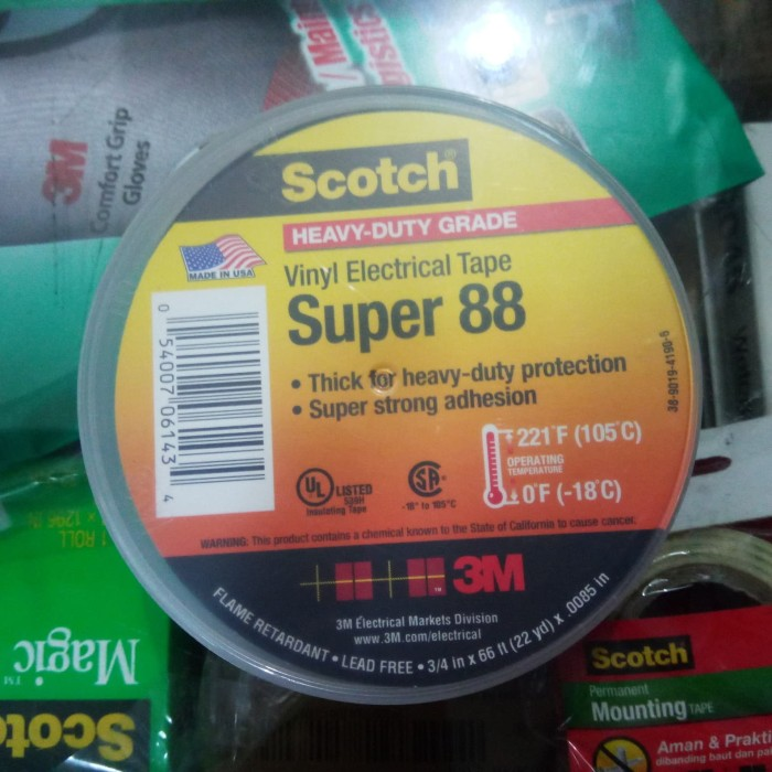 Jual 3M Scotch super 88 high temp  221F / 105°C vinyl electrical tape -  Kota Bandung - dhuha teknik industri | Tokopedia