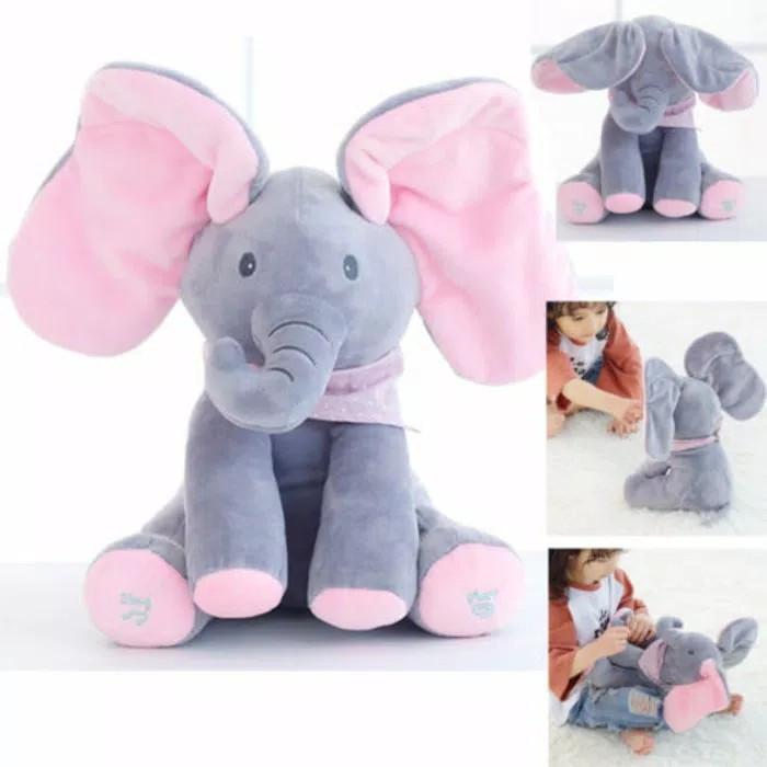 Foto Produk READY Sing & Peek a Boo Elephant Doll Boneka Gajah Cilukba & Nyanyi dari GizelShop