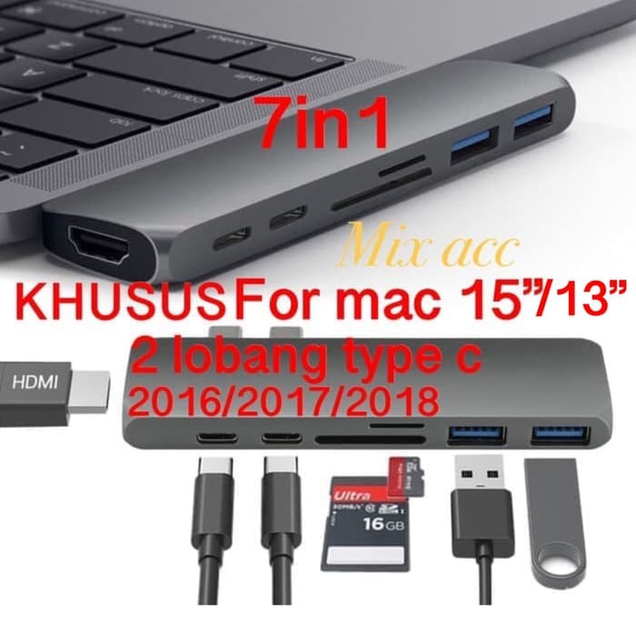 7 in 1 USB-C Hub Type C Video HD Output 4K HDMI USB 3.0 Adapter For MacBook Pro