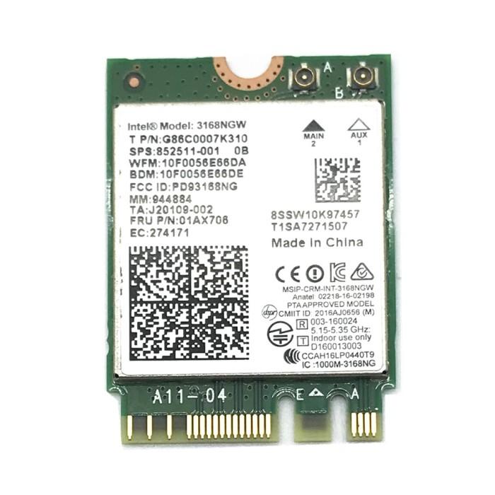 BT4.2 802.11AC NGFF Intel Dual Band 3168NGW WiFi M2 HP 852511-001 WLAN Card