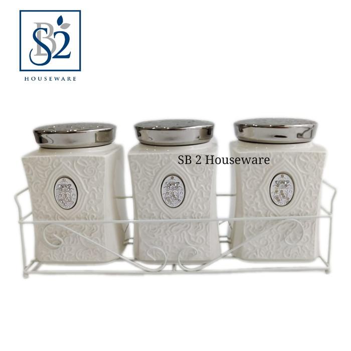 Toples set keramik tutup stainless isi 3 + rak KERAMINDO HC 14101022-P