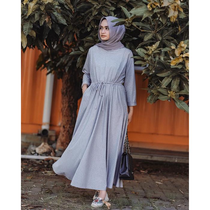 JV Hasanah Sabiya Stripes Misty Dress Silver