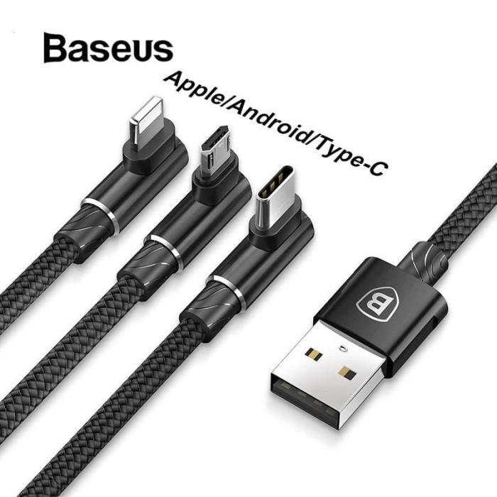 Foto Produk Baseus 3in1 Micro USB Type C Lightning Cable Gaming 120CM CAMLT-AWZ01 - Hitam dari KoekMuraH