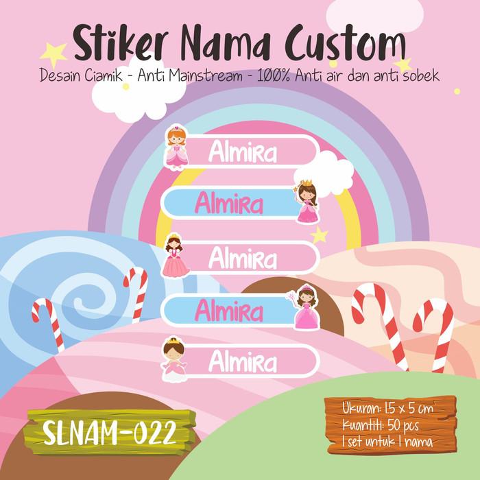 Jual Sticker Label Nama Anak Kartun Princes Cewek Girl Lucu Cute