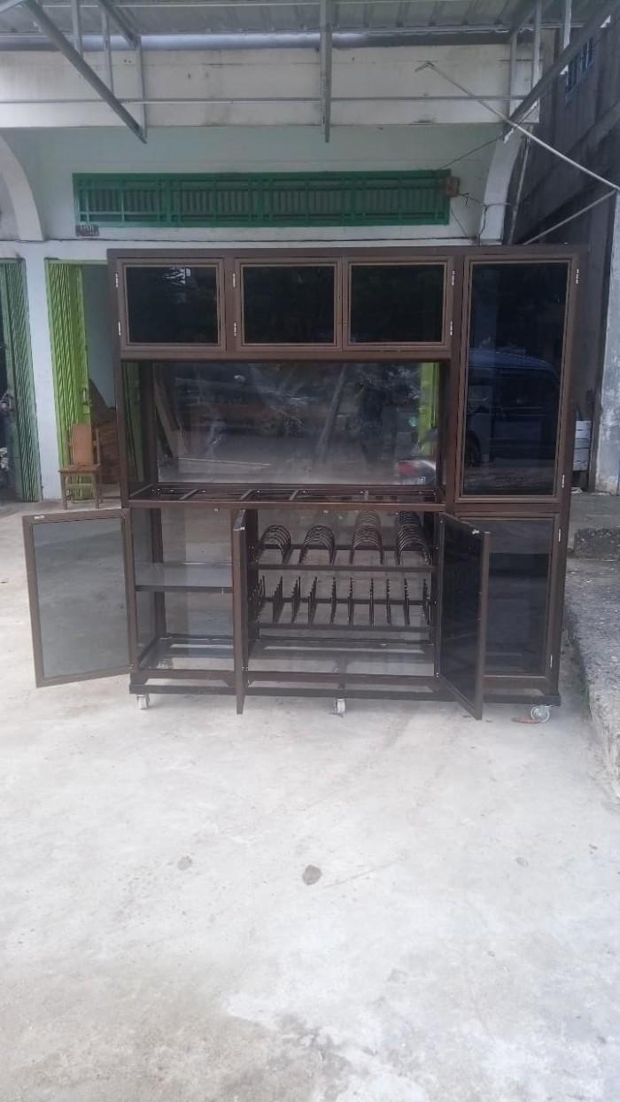 Jual Rak Piring Lemari Kaca Rangka Alumunium Coklat 2x2 Meter Kota Jambi Sadaya Anyoss