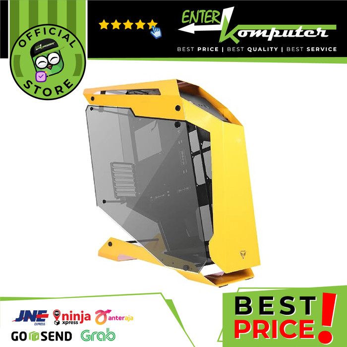 PRIME C-[Q] YELLOW - ALUMUNIUM GAMING CASE - DUAL SIDE TEMPERED GLASS - FREE 3 PCS PRIME BUTTERFLY FAN