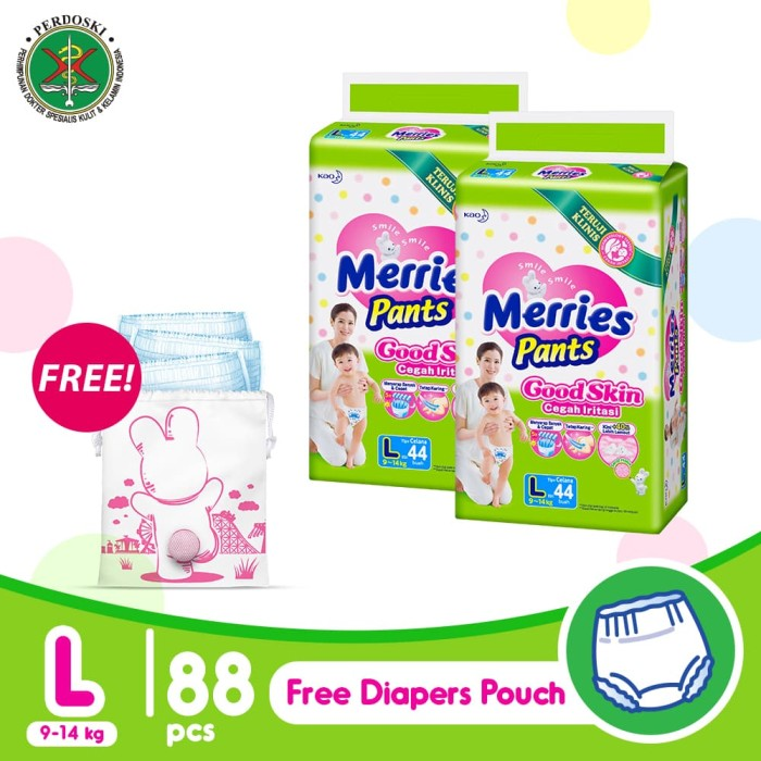 harga Merries pants good skin l 44s twinpack free pink diaper pouch Tokopedia.com