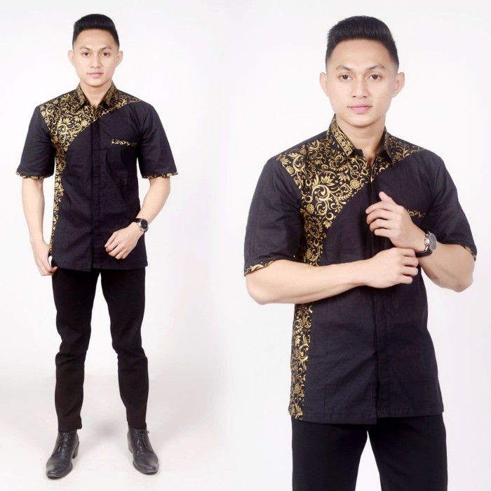 Jual Model Baju Batik Pria Lengan Pendek Kombinasi Prada Pekalongan Hitam Kota Pekalongan Kios Abang Tokopedia