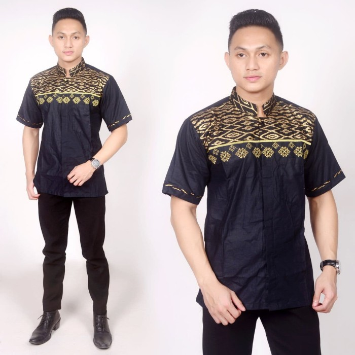 Jual Model Baju Batik Kombinasi Baju Batik Modern Prada Dan Bordir Brb016 Hitam Kota Pekalongan Kios Abang Tokopedia