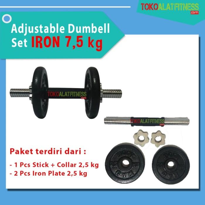Foto Produk Body Gym Adjustable Dumbell Set Iron 7.5 kg paket dumbel & barbel dari kafkaa