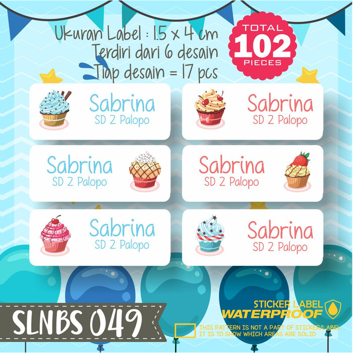 Jual Slnbs 049 Stiker Label Nama Anak Kartun Sticker Anti Air