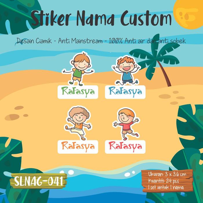 Jual Sticker Label Nama Anak Kartun Cowok Cute Laki Laki Lucu