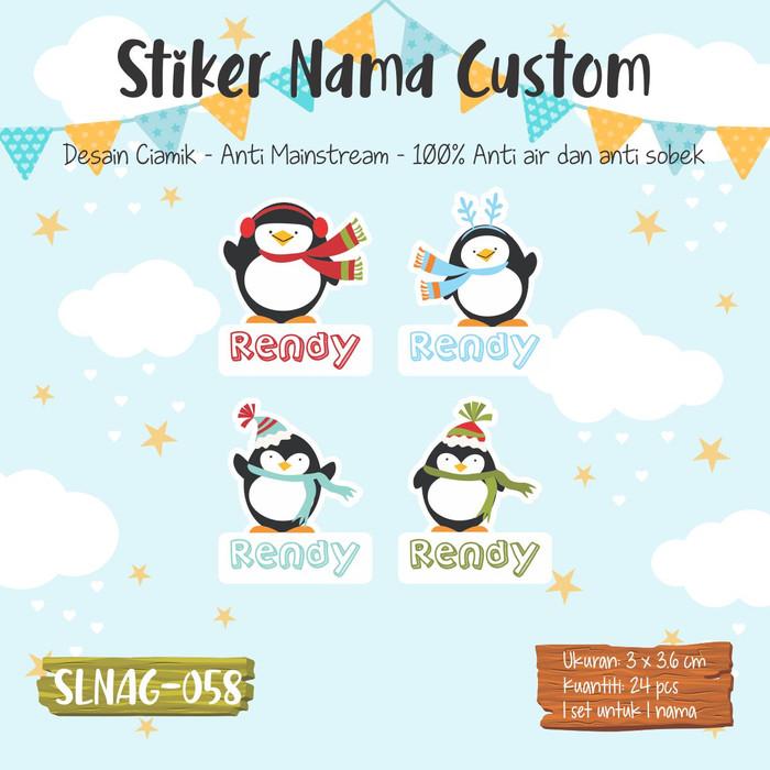 Jual Sticker Label Nama Anak Cowok Pingo Pinguin Lucu Cute Slnag