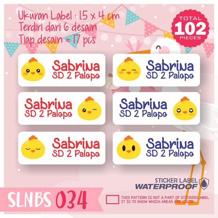 Jual Slnbs 034 Stiker Label Nama Anak Kartun Sticker Anti Air