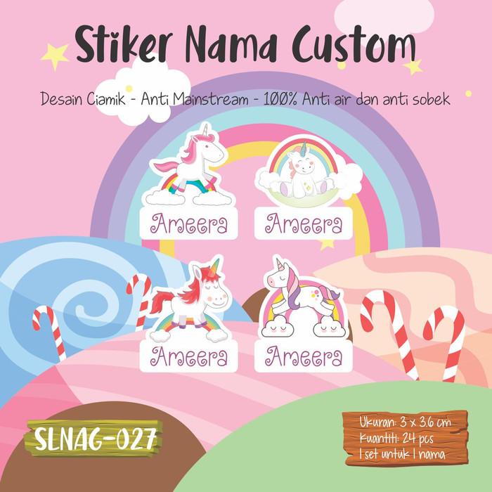 Jual Sticker Label Nama Anak Kartun Cewek Lucu Kuda Kecil Cute