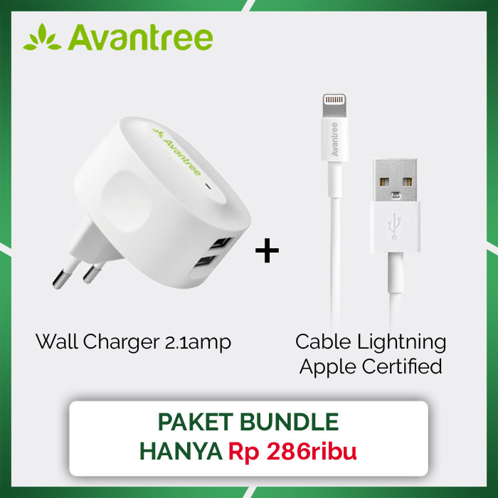 [paket bundle] avantree wall charger 2.1amp + cable lightning 100cm