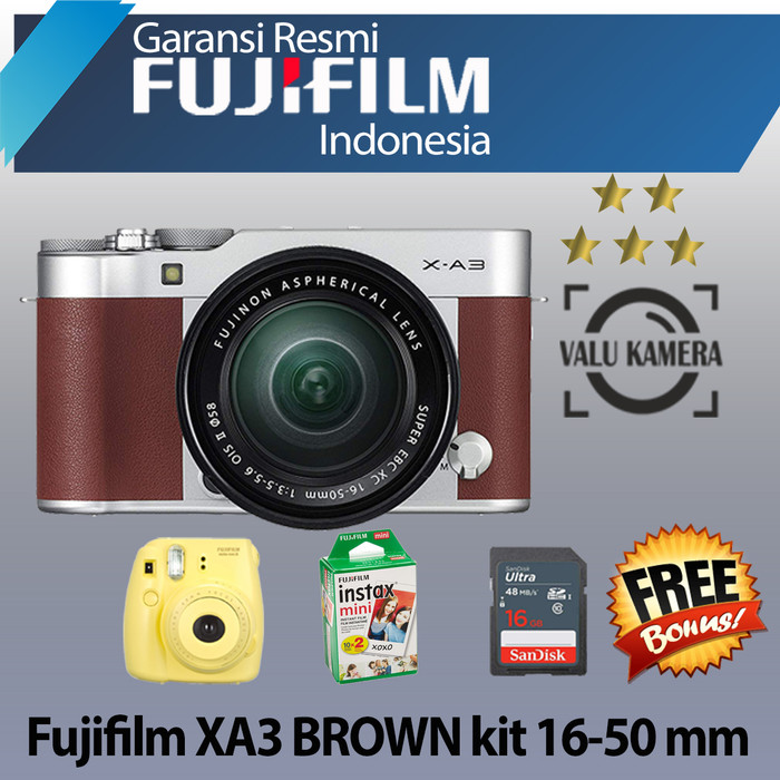 harga Fujifilm xa3 / fuji x-a3 kit 16-50mm kamera mirrorless - brown Tokopedia.com