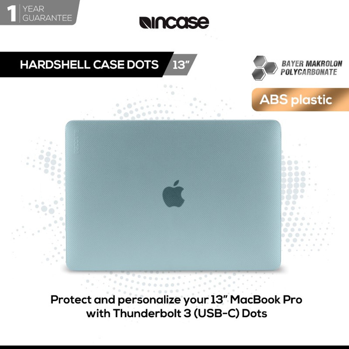 Incase hardshell case for macbook pro 13  thunderbolt 3 (usb-c) dots - biru muda