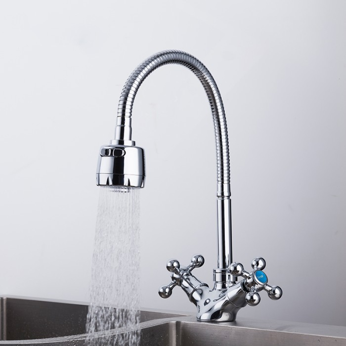Jual Promo Frap Silver Double Handle Faucet Kitchen Sink Faucet And Jakarta Barat Super Go Tokopedia