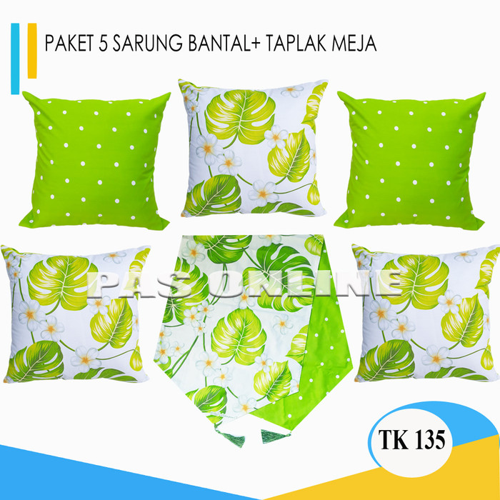 Foto Produk Paket Sarung Bantal 5 Pcs + 1 Taplak Meja dari pondok aren shop