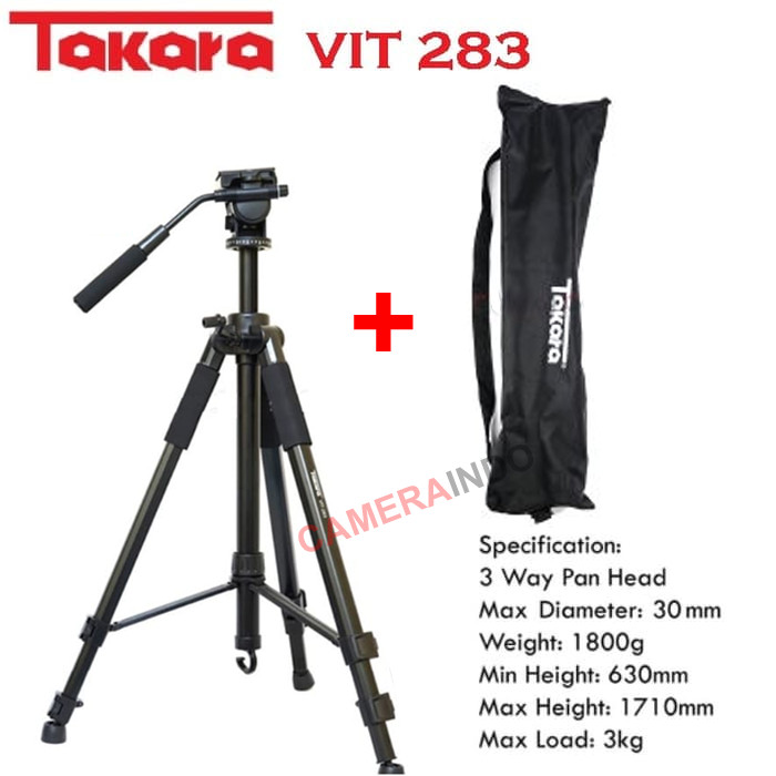 harga Tripod takara vit 283 professional photo video tripod dslr kamera Tokopedia.com