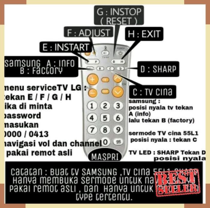 Jual Remot tuser master lg factory mode samsung sharp china - Jakarta Barat  - aqila putri emblem   Tokopedia