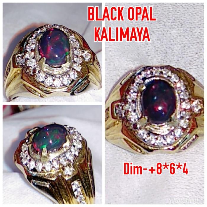 Foto Produk NATURAL BATU PERMATA BLACK OPAL KALIMAYA JARONG A11 dari arjuna cincin
