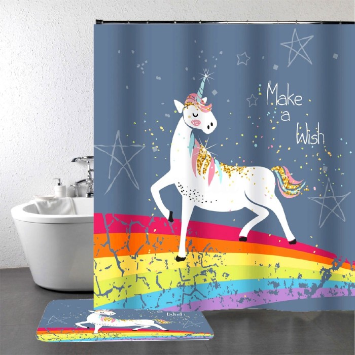 ミ ミstiker Dinding Motif Unicorn Warna Pink Untuk Kamar Mandi