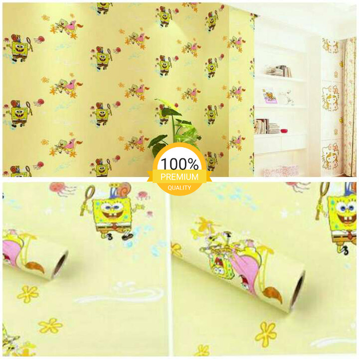Jual Grosir Wallpaper Dinding Mura Kartun Anak Sponge Bob Kuning