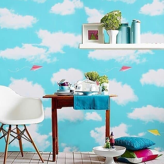 Wallpaper Dinding Desain Sendiri  jual wallpaper dinding motif awan jakarta barat fizam wallpaper tokopedia