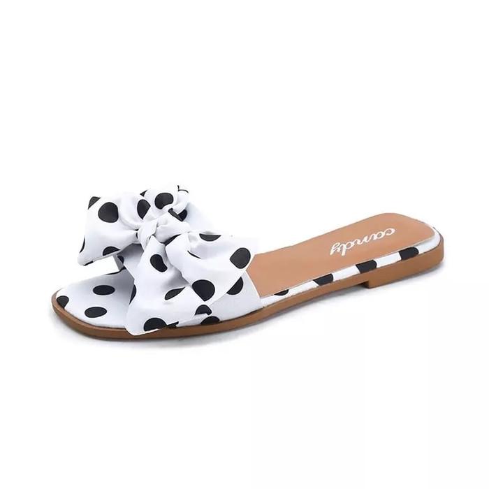 Foto Produk sandal teplek pita polkadot - Putih, 36 dari efraim shoes
