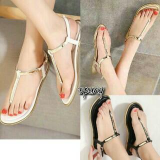 Foto Produk sandal telpek tali gold - Putih, 36 dari efraim shoes