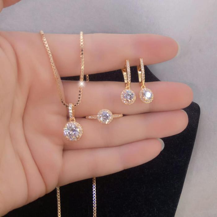 Jual Set Perhiasan Gold 3 PERSIS ASLI Antikarat Antialergi ...