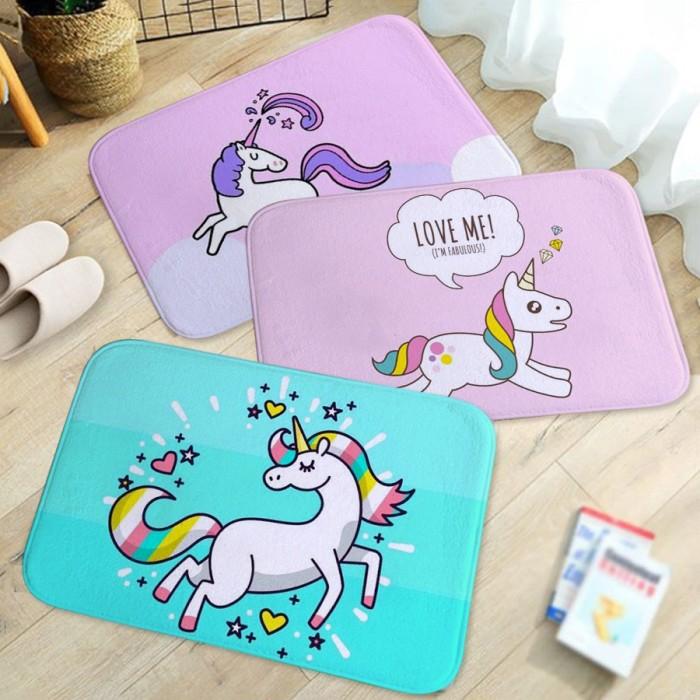 Jual Karpet Anti Slip Gambar Kartun Unicorn Untuk Kamar Mandi