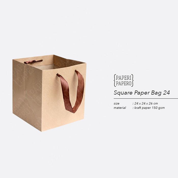 Foto Produk Square Paper Bag / Shopping Bag Coklat untuk Box Kue - 24x24x26 cm dari {Paperi Papero}