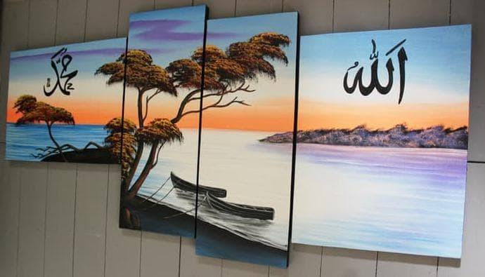 Jual Hot Sale Lukisan Kaligrafi Pemandangan Tepi Pantai Au 7 Jakarta Utara Siska Farida Tokopedia