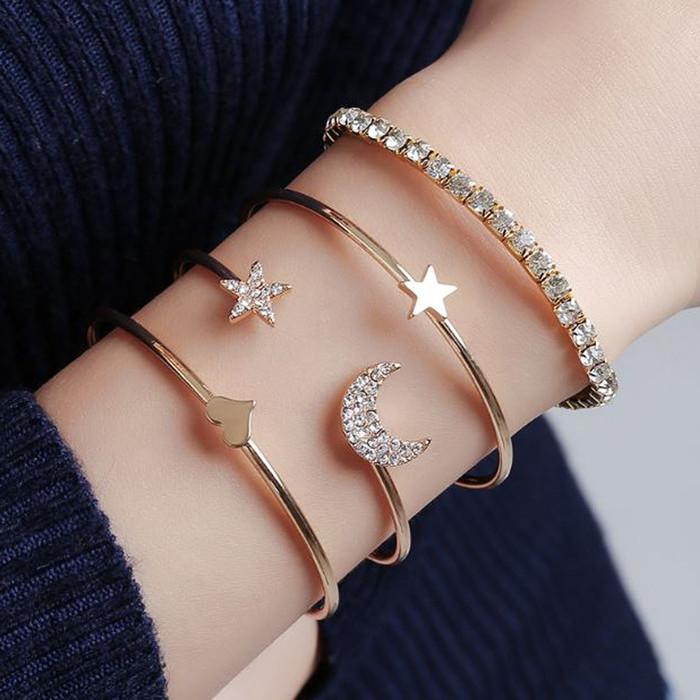 Foto Produk gelang fashion set 4 pcs star moon love set bracelets jge081 - gold dari Oila