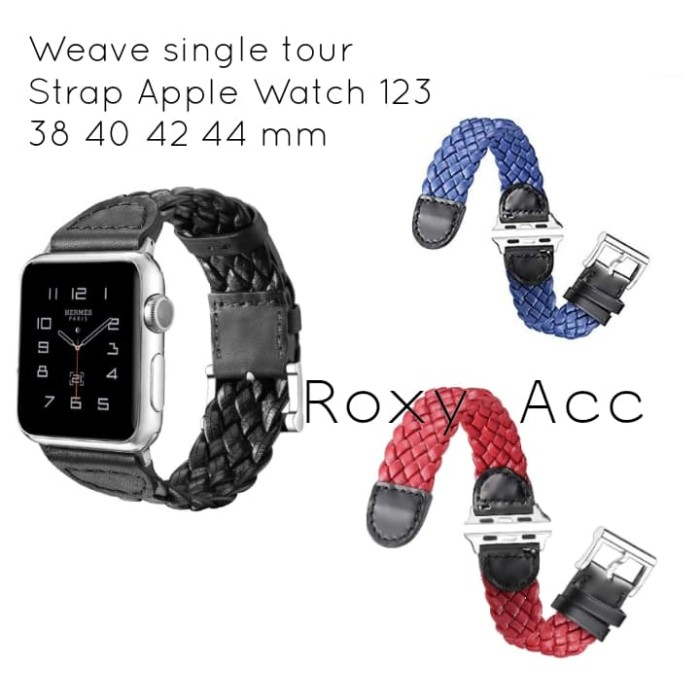 Foto Produk Weave Leather Single Tour Strap Apple Watch 38 40 42 44 mm - Hitam dari Roxy Acc
