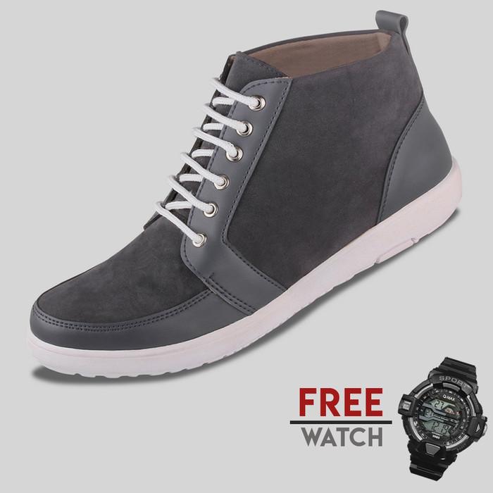 harga Sepatu casual pria s. van decka jd-fs01a free jam digital - hitam Tokopedia.com