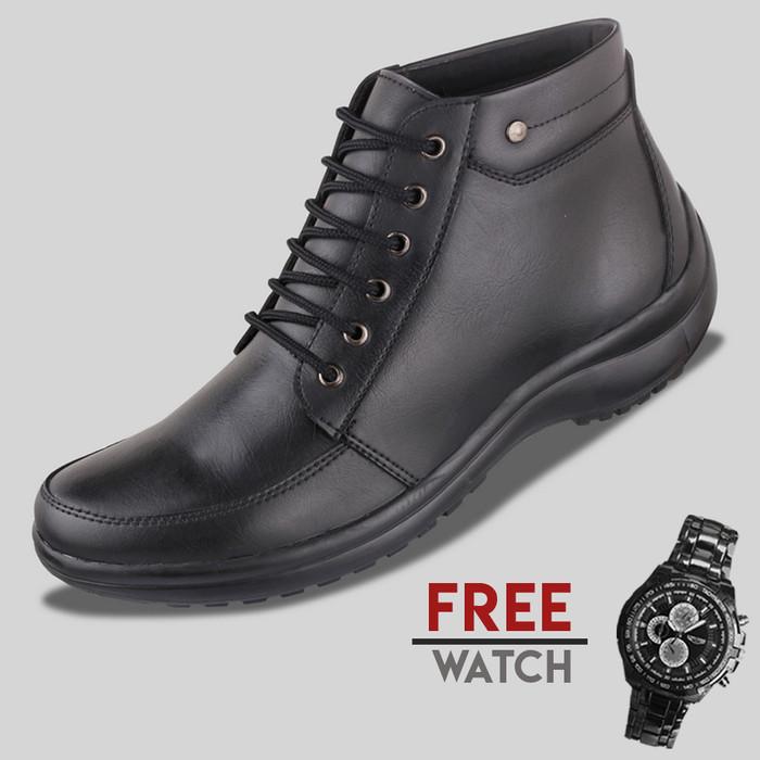 harga Sepatu casual pria s. van decka j-mz025 free jam tangan - hitam Tokopedia.com